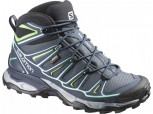 SALOMON X-ULTRA 2 MID GTX Gore-Tex Damen GREY DENIM/DEEP BLUE/LUCITE GREEN